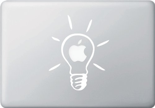 Lightbulb - Idea - Vinyl MacBook Laptop Decal Sticker (White)