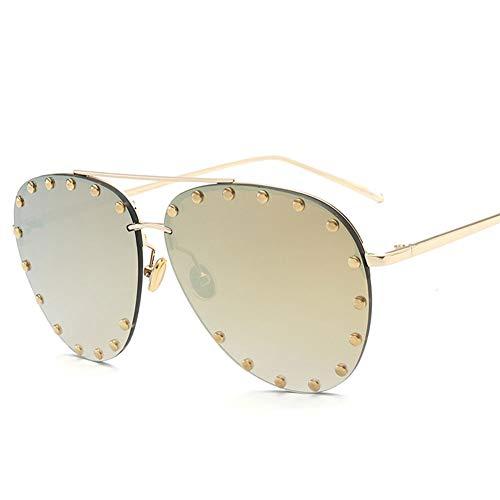 Thirteen Sonnenbrille Weiblich, Nietlinsen Sommer Strand Mode Sonnenbrille Fahren Golf Laufen Radfahren Metallrahmen (Color : D)