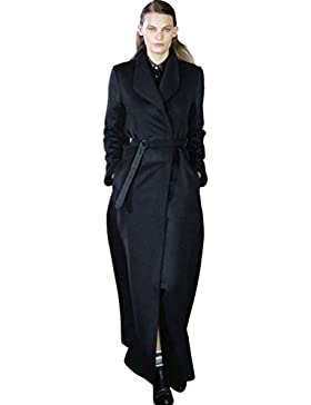 YuanDian Mujer Solapa Largo Moda Abrigo Con Cinturón Color Sólido Caída Invierno Abrigo