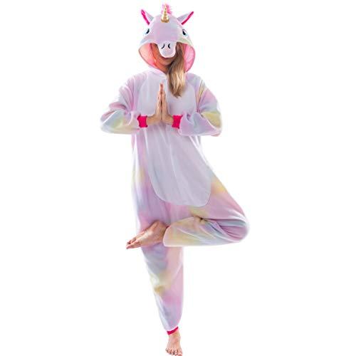 Spooktacular Creations Unisex Erwachsene Pyjama Schlafanzug, Plüsch Damen Herren Onesie Jumpsuit Einhorn Tier Kostüm Halloween Karneval Kostüm (Large)