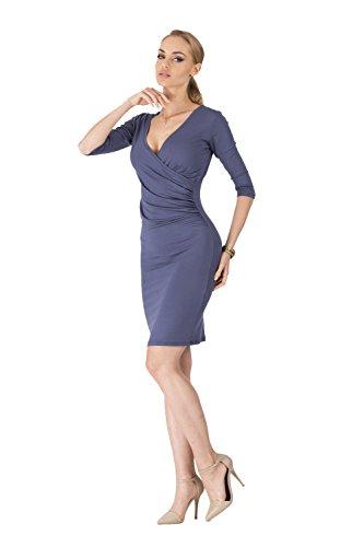 Kleid V-Ausschnitt Sommerkleid Mini Kleid 3/4 Arm in 10 Farben Gr. 36 38 40 42 44 46, 8985 Grafit
