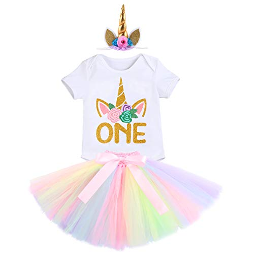 458bdf05bc81 FYMNSI Baby Girl Unicorn First Birthday Cake Smash Outfit Glitter Golden  One Floral Short Sleeve Romper