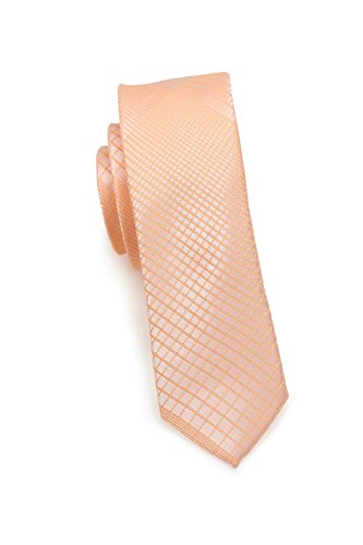 endige schmale Krawatte, modernes Netz-Muster, verschiedenen Farben, 6 cm Skinny/Slim Tie, Mikrofaser, Handarbeit (Apricot/Peach) ()