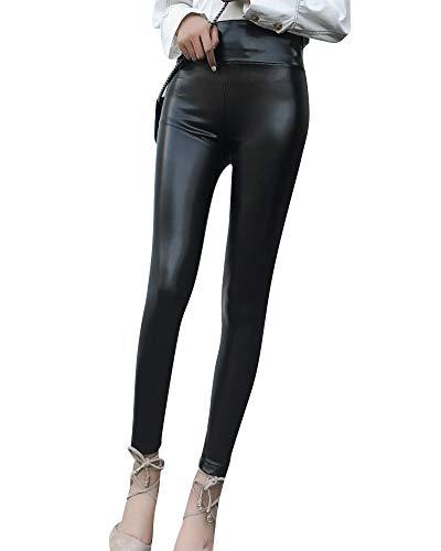 Elastische Taille Fleece-strumpfhosen (Kunstleder Leggings Damen Faux Pu Leder Leggins Hohe Taille Elastische Strumpfhose Hose Schwarz 4 XXXL)