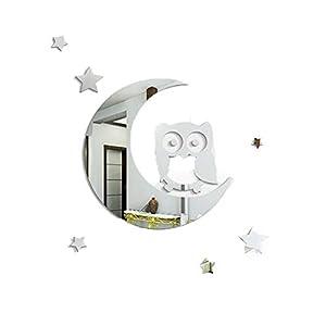 Wandtattoo Dekoration DIY Spiegel-Effekt-Wand-Aufkleber Crescent Sterne Owl Kinderzimmer Kindergarten Klassenzimmer…