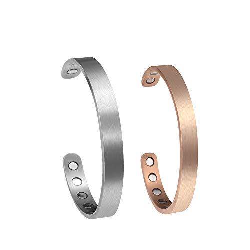 Zysta Titan ArmschmuckDamen Herren Magnetarmband Offener Armreif Armspange Pärchen Geschenke (Partnerarmbänder-Silber+Rosegold)