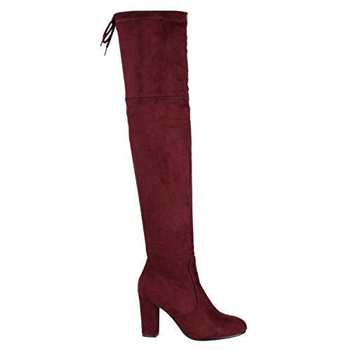 Damen Schuhe Overknees Schleifen Langschaft Stiefel Leder-Optik 144369 Dunkelrot 39 Flandell