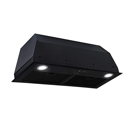 Klarstein Paolo 72, hotte aspirante, module de ventilation, largeur 72,5 cm, 600m³/h d'air extrait, 200 W, filtre à graisse en aluminium, LED, acier inoxydable, recirculation possible, noir
