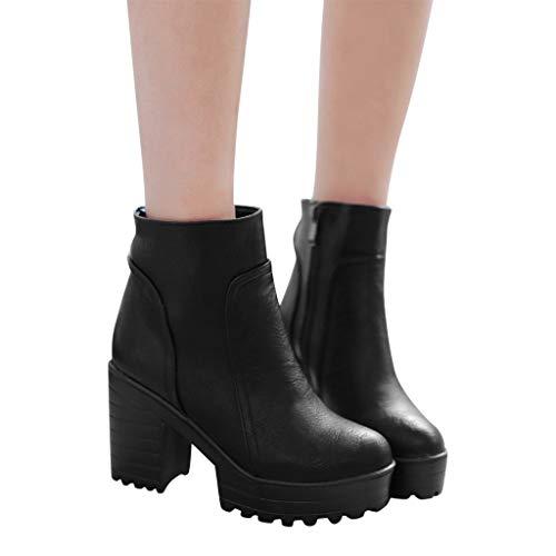 Tianwlio Frauen Herbst Winter Stiefel Schuhe Stiefeletten Boots Damen Mode Warme Super Hohe Dicke Ferse Reißverschluss Stiefeletten Runde Zehe Schuhe Schwarz 40