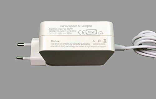 60W MagSafe 1 Adaptador de corriente para MacBook Pro Forma de L para Macbook Pro 13' (Antes de mediados de 2012), A1278, Macbook 13' (Desde finales de 2009), A1181