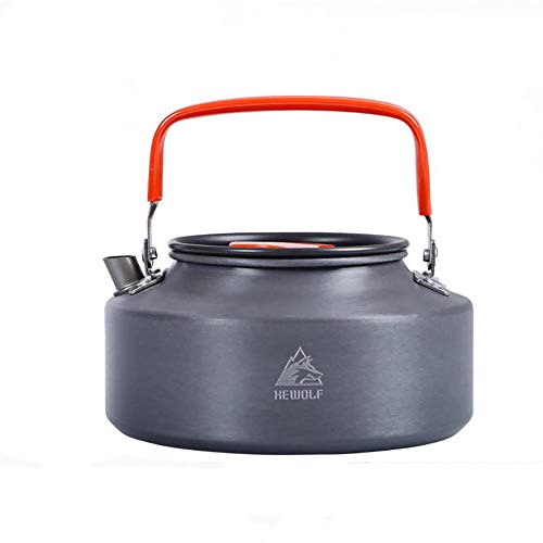 WAHHY Camping Kettle/hervidor de Agua al Aire Libre Duro alúmina Resistente al Desgaste Resistente a la corrosión Anti-Scalding, Campo Set de té de café portátil ollas,1.1L