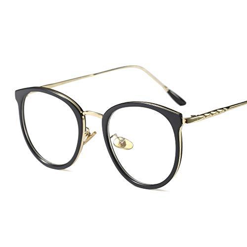 Retro Art- und Weiserunder Eyewear-Rahmen-optische klare Linsen-Gläser für Frauen. Brille (Farbe : Brilliant Black)