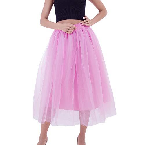 (SEWORLD Karneval Carnival Fasching Damen 1950 Petticoat Reifrock Unterrock Vintage Retro Crinoline für Ballkleid Wedding Kleid Brautkleid Abendkleid(Rosa,Freie Größe))