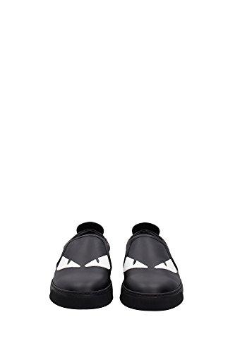 7E094291RF06BE Fendi Pantoufle Homme Cuir Noir Noir