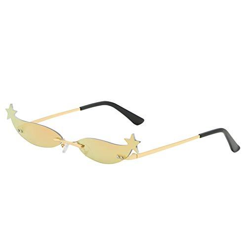 Lazzboy Mode Mann Frauen Unregelmäßige Form Sonnenbrille Brille Vintage Retro Style Herren Polarisierte Mit Metallrahmen Und Kohlefaser Beine(G)