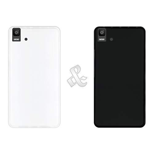 Hapdey [2 Stück Hülle (Klar + Schwarz) für [Bq Aquaris E5s - E5 4G] - Handyhülle Silikon Flexibel Gel, Stoßfest, Harte Schutzhülle, Schutz vor Kratzer und Staub