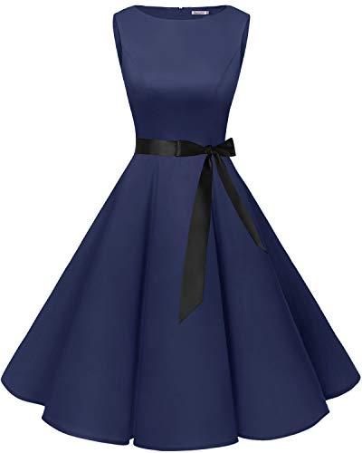 bbonlinedress 50s Retro Schwingen Vintage Rockabilly Kleid Cocktail Faltenrock Navy 2XL Kurzes Kleid Vintage Rock