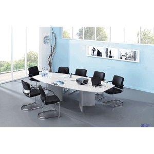 Konferenztisch mit Holzuntergestell 280x130/78cm weiß