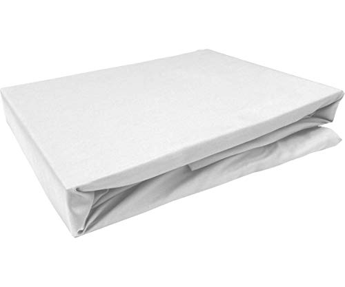 Bettwaesche-mit-Stil Mako Satin Spannbettlaken Spannlaken Spannbetttuch (180 cm x 200 cm, Matratzenhöhe 12-20 cm, Weiß)