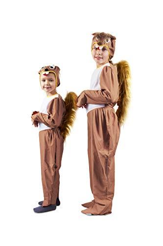 Otuli - Kinderkostüm Tierkostüm Eichhörnchen für Karneval Overall mit Mütze Unisex (122/128)