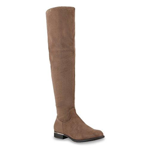 Damen Stiefel Overknees Veloursleder-Optik Winterstiefel Langschaftstiefel Metallic Blockabsatz Schuhe 128369 Khaki Braun 37 Flandell