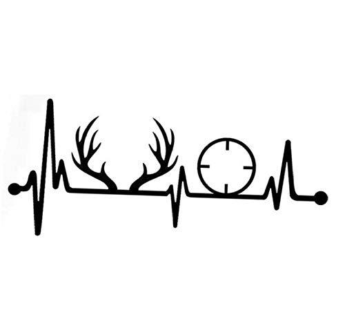 YOUYOUY 2Pcs Autoaufkleber Deer Rack Geweih Gun Heartbeat Vinyl 17.8Cm * 7.7Cm
