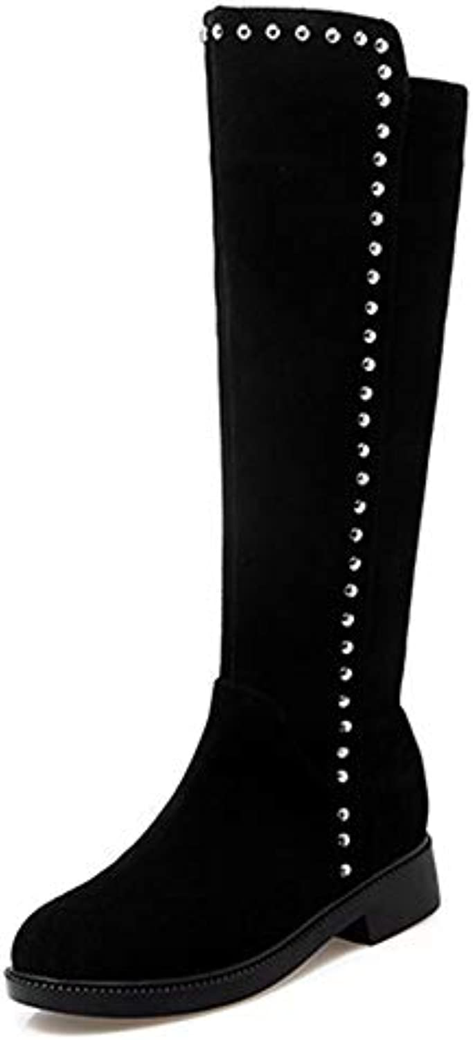 ed1d07ec9403 Women s Long Slouch Boots Over The Knee Round Round Round Toe Block Low  Flat Heel Stretch Boots Studded Office Slouch Riding... B07H4N8N48 Parent  6ff002