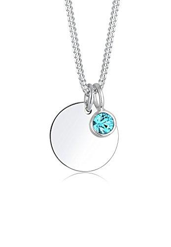 Elli Damen Schmuck Halskette Kette mit Anhänger Geburtsstein März Silber 925 Swarovski® Kristalle Länge 45 cm (Geburtsstein Amazon Halskette)
