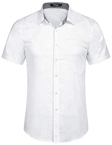 Aibrou Herren Hemd Slim-Fit Kurzarm Freizeit Business Party Shirt Weiß M