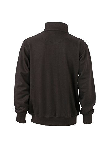 James & Nicholson Herren Workwear Sweat Jacket Sweatshirt Schwarz (Black)