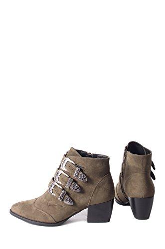 FFOMO Cynthia khaki faux suede buckle ankle boots Khaki uIZ7YrQh