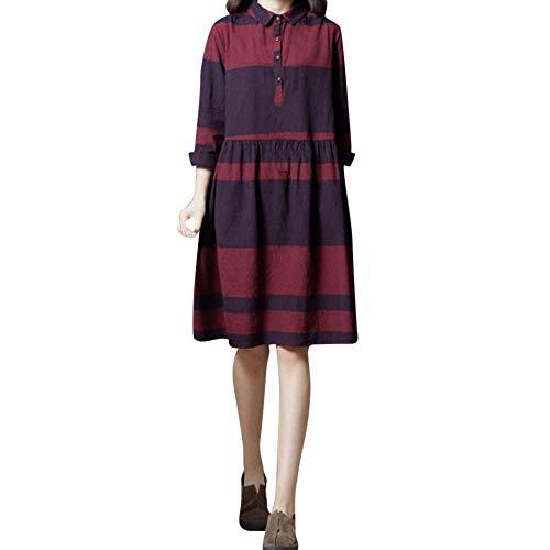 Damen Kleider Gestreiftes Hemd Kleid mit Streifen Blusenkleid Langarm Baumwolle und Leinen Dress Kingwo(Rot,EU42/ XXL)