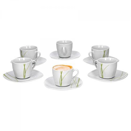 Van Well Bali 6er Set Espressotasse + Untertasse, Espresso-Set, Liniendekor, edles Marken-Porzellan