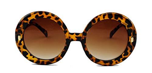 amashades Vintage Classics Große runde Damen Retro Sonnenbrille im Designer Look 60er 70er Jahre dicker breiter Rahmen Bügel PR93 (Mod.2: Hornbrille Leo)