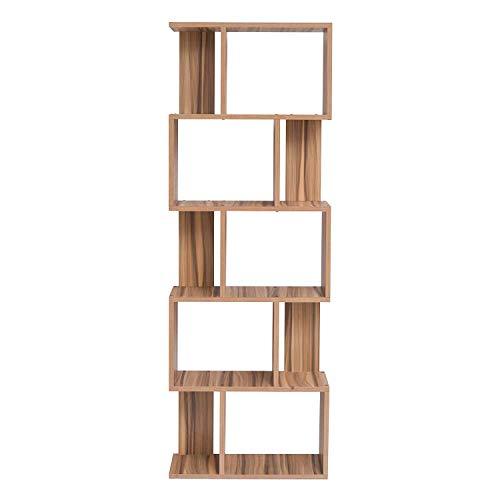 Mobili rebecca® libreria scaffale 5 mensole legno marrone arredamento moderno sala ufficio (cod. re4790)