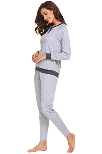 ADOME Damen Zweiteiliger Schlafanzug Langarm Pyjama Freizeitanzug Hausanzug Anzug Lang Hellgrau780