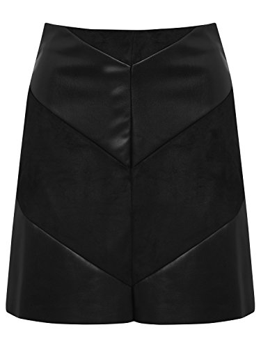 JDY Ladies High Waisted PU Faux Leather and Suede Chevron Panel Mini Skirt