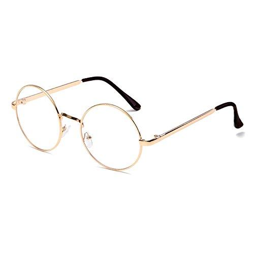 QDE Sonnenbrillen Frauen Männer Runde Sonnenbrille Steampunk Shades Multicolor Gradient Spiegel Objektiv Brille Vintage Sonnenbrille, Rose Gold