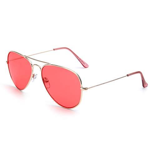 JM Retro Spiegel Flieger Sonnenbrille Blitz Getönt Linse Brille für Damen Herren UV400(Gold/Transparentes Rosa)