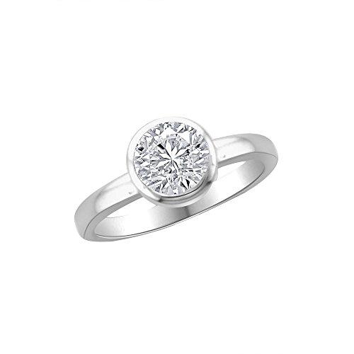 14ct Oro Blanco En forma de Circulo Anillo de Diamante, 1 ct Diamante, GH-SI, 3,92 gramos,