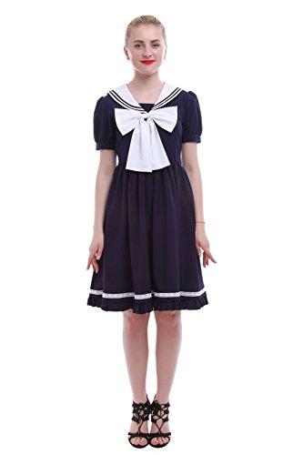 Nuoqi® Mädchen Schule Einheitliche Chiffon Kurzarm Seemann Kostüm Sommer Kleid Dunkel Blau (EU 42, (Größe Plus Kostüme Schule Mädchen Halloween)