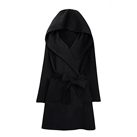 Vertvie Femme Long Manteau Mélange de Laine à Capuche Chaud Veste Casual avec Ceinture (FR L(XL sur l'étiquette), Noir)