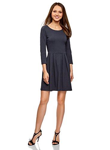 oodji Ultra Damen Tailliertes Kleid mit Ausgestelltem Rock, Blau, DE 38 / EU 40 / M
