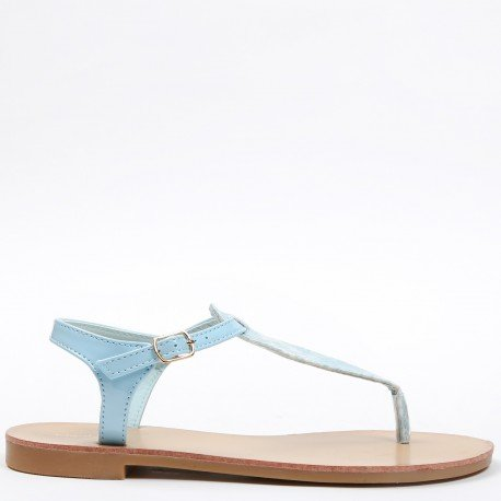 Ideal Shoes - Sandales plates vernies avec lanière effet reptile Maureen bleu ciel