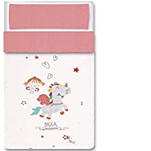 Pirulos 34013219  - Saco nórdico, diseño unicornio, algodón, 72 x 142 cm, color blanco y fresa