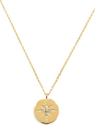 Happiness Boutique Damen Stern Münze Kette in Goldfarbe | Zarte Stern Kette mit Anhänger Edelstahlschmuck