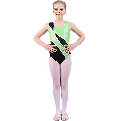 Wongfon Kinder Gymnastik Tanz Outfit Mädchen Ballett Dancewear 2-10 Jahre Leistung Kind Kleidung Grün (Just Dance Halloween Kinder)