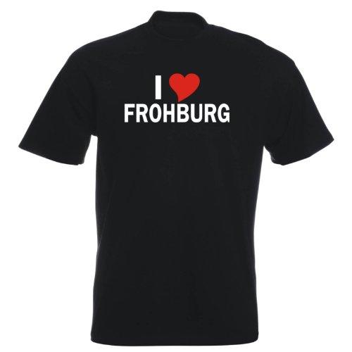 T-Shirt mit Städtenamen - i Love Frohburg - Herren - unisex Schwarz