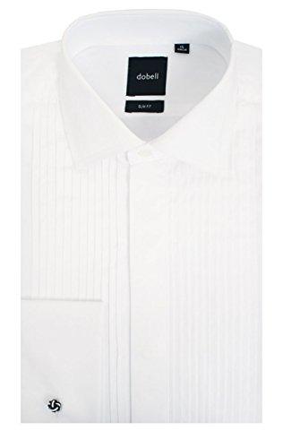 Oxford Woven Dress Shirt (Smokinghemd, Weiß, Kentkragen, gefältelte Hemdbrust, Slim Fit, 100% Baumwolle, 44)