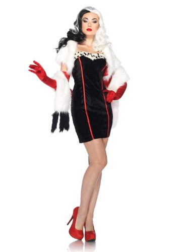 Disney 101 Dalmatians Cruella Adult Costume Dress (Small/Medium) (Sexy Disney Outfits)
